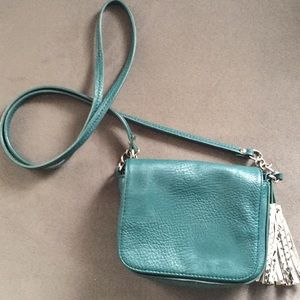 Women's Small Green Purse with Fringe